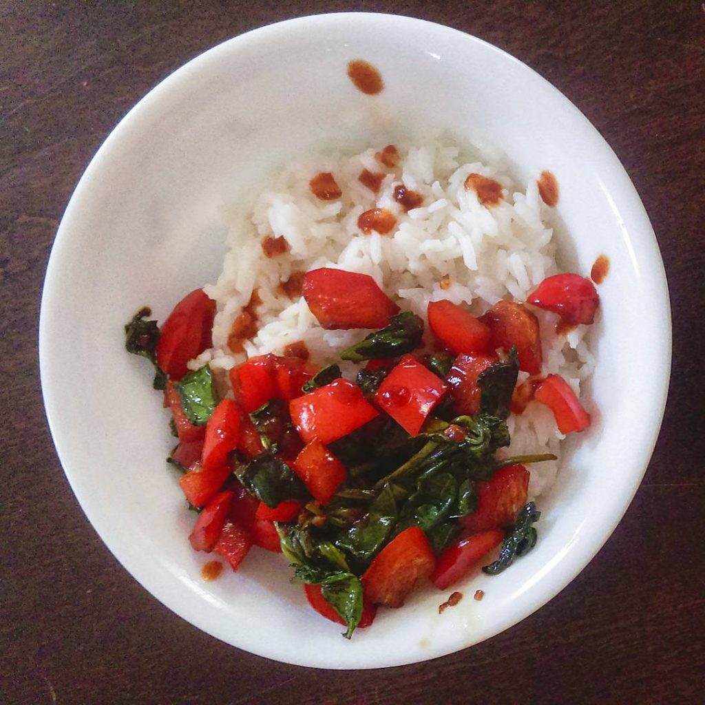 White rice and Christmas colored veggies  thats one festivehellip